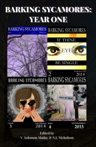 Barking Sycamores Year One front cover, featuring all 4 issue covers