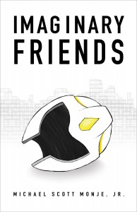 Imaginary Friends cover featuring an armored helmet lying on its side and a lego skyline